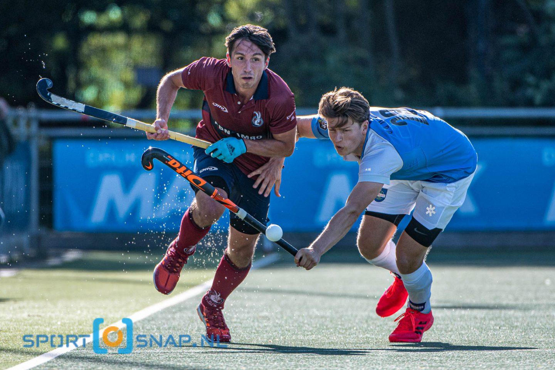20-09-2020: Hockey: Heren Klein Zwitserland v Hurley: Den Haag Hockey Hoofdklasse heren 2020 (L-R) Max Kapaun (Klein Zwitserland #3) en Roderic Schwirtz (Hurley #23)